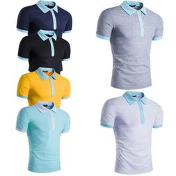 Men's Polo Short Sleeve Formal Shirts Casual T-shirt Blouse