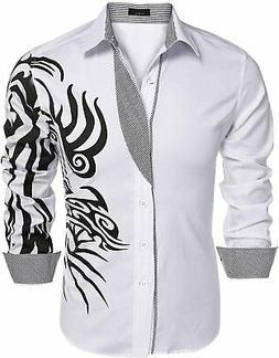 COOFANDY Men's Print Button Down Dress Shirt Fashion Long Sl