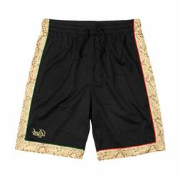 DGK Men's Reptile Athletic Basketball Mesh Shorts Black Clot