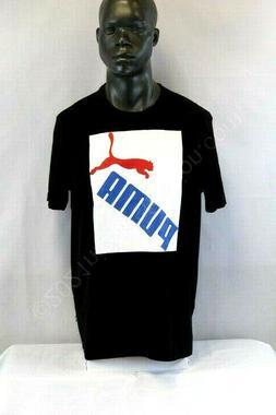 PUMA MEN S/S BIG LOGO T-SHIRT BLACK/WHITE/RED/BLUE 581386-51