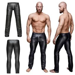 Men's Sexy Leather Pleated Slim Pants Shows Clothing Zipper