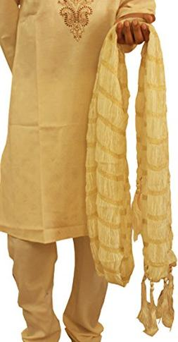 Apparelsonline Men's Shawl Scarf Stole Traditional Zari Work