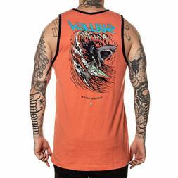 Sullen Men's Shredding Sleeveless Tank Top Shirt Coral Orang