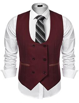 COOFANDY Men's Slim Fit Sleeveless Suit Vest Double Breasted