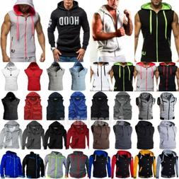 Men's Slim Hoodie Hooded Vest Sport Muscle Sweatshirt Coat J