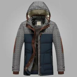 Men's Slim Jacket Winter Hooded Warm Coat Fashion Outerwear