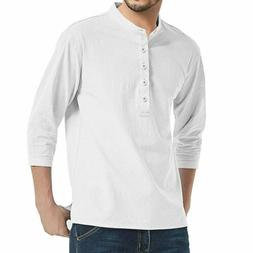Men's Solid Color 3/4 Sleeve Shirt Cotton Linen Men Casual S
