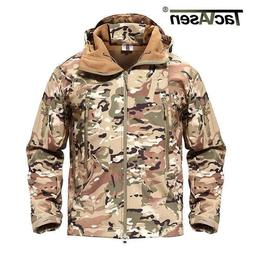 TACVASEN Men's Tactical Concealed Hooded Softshell fleece Mi