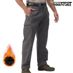 TACVASEN Men's Tactical Soft Shell Fleece Pants Waterproof A