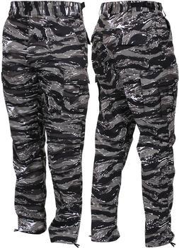 Men's Urban Tiger Stripe Camo Tactical Cargo Pants BDU Gray