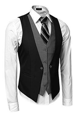 Coofandy Men's V-neck Sleeveless Slim Fit Vest,Jacket Busine