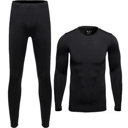 Men's Warm Long Johns Sports Thermal Underwear Tee Neck Top
