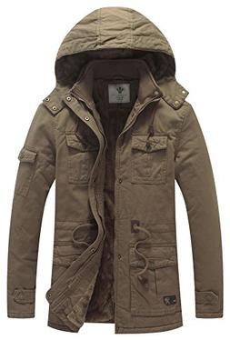 WenVen Men's Warm Military Parka Outerwear Jacket