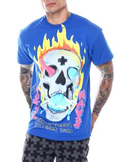 Pink Dolphin Men's Wavelordz Skull T-Shirt Blue Clothing App