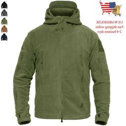 Mens Winter Fleece Tactical Hiking Jacket Outdoor Hooded Cas