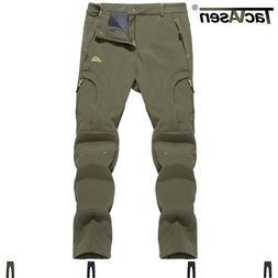 TACVASEN Men's Winter Fleece Pants 5 Zip Pockets Softshell H