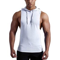 Gtealife Men's Workout Hooded Tank Tops Bodybuilding Muscle