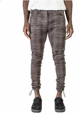 KOLLAR CLOTHING MEN'S ZIP TIE PLAID PANTS BROWN SKINNY NWT A