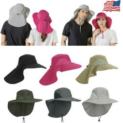 Men Women Boonie Snap Hat Brim Ear Neck Cover Sun Flap Cap V