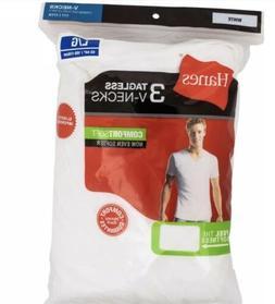Hanes Mens 6 pack White T Shirt UnderShirt V Neck Size S-3XL