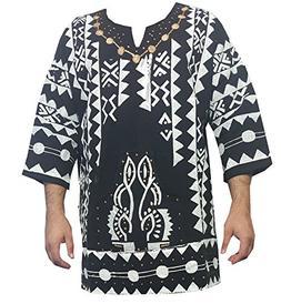 Decoraapparel Mens African Dashiki Shirt Mudcloth Organic Co