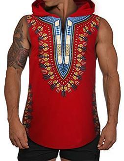 COOFANDY Mens African Print Dashiki Hooded Fashion Sleeveles