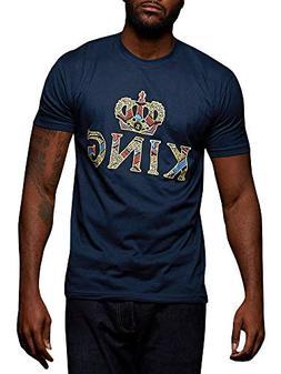 Gtealife Mens African Print Dashiki T-Shirt King Crown Short