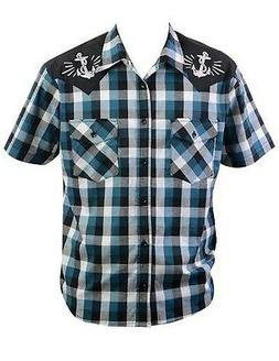 Steady Clothing Mens Anchors Away Western Plaid Button Down