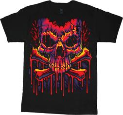 Mens Big and Tall T-shirts Graffiti Skull Big Men Clothing T