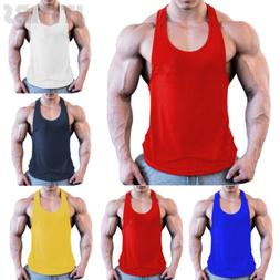 Mens Bodybuilding Stringer Tank Top Y-Back Gym Workout Sport