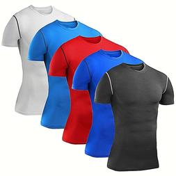 Mens Compression Shirt Short Sleeve Base Layer Workout Cloth