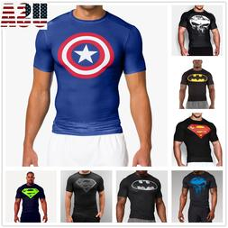 Mens Compression T-shirt Running Sports Gym Fitness 3D Print