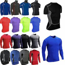 Mens Compression Under Base Layer T-Shirt Sports Gym Fitness