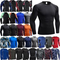 Mens Compression Under Muscle T-Shirts Long Sleeve Sports Gy
