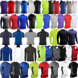 Mens Compression Under Shirt Base Layer Tops Gym Sports Athl