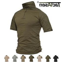 TACVASEN Mens Cotton T-shirt Tactical Military Combat Shirt