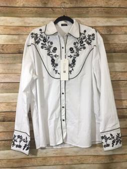 Coofandy Mens Embroidered Floral Design Western Shirt L/S Bu