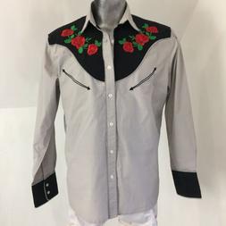 Coofandy Mens Embroidered Rose Design Western Shirt Long Sle