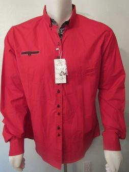 COOFANDY Mens Fashion Slim Fit Dress Casual Shirt Red w Pais