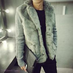 Mens Faux Fur Cotton Winter Warm Coats Jackets Winter Outerw