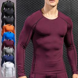 Mens Compression T-Shirt Muscle Long Sleeve Gym Under Base L