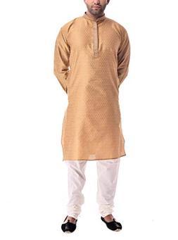 CRAFTSTRIBE Traditional Men's Jacquard Silk Designer Kurta C