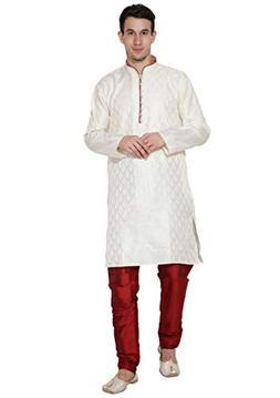 Mens Kurta Pajama Long Sleeve Jacquard Silk Blend Shirt Pyja