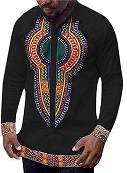 Gtealife Mens Long Sleeve African Printed Casual Slim Fit Da