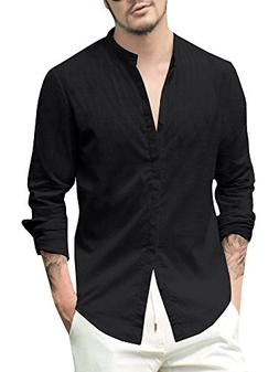 Karlywindow Mens Long Sleeve Casual Buttons Down Shirts Cott