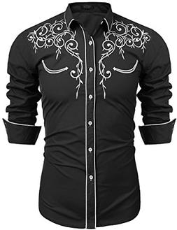 COOFANDY Mens Long Sleeve Shirt Embroidery Slim Fit Casual B