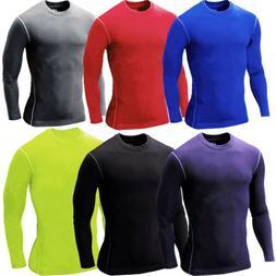 Mens Long Sleeve T-shirt Compression Base Layer Sport Gym Fi