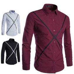 Men's Luxury Casual Hit Color Stylish Slim Fit Long Sleeve