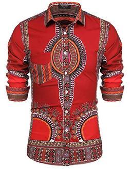 JINIDU Mens Luxury Printed Slim Fit Long Sleeve African Dres