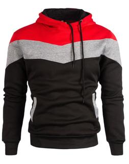 Mooncolour Mens Novelty Color Block Hoodies Cozy Sport Autum